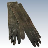 Long Green Gloves for a Large Fashion Doll