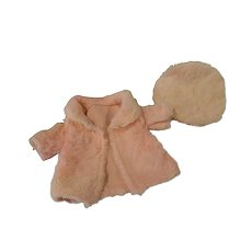 """Pink Fur Coat and Tam for 17-18"""" Shirley Type Doll"""