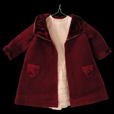 Wine Colored Wool Doll Coat w/Underdress