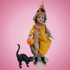 "Halloween Girl!  Handwerck/Halbig 23"" Doll w/Cat and Pumpkin"