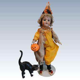 "Halloween Girl!  Handwerck/Halbig 23"" Doll w/Cat and Pumpkin"