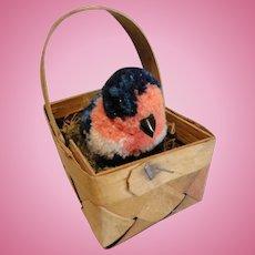 Steiff Wooly Bird in German Basket