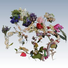 Huge Lot of Vintage Millinery Flowers for Doll Hats, Other Projects
