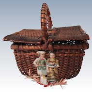 Wicker Picnic Basket w/Christmas Decorations