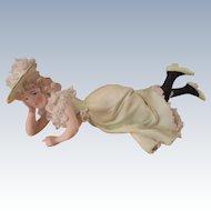 German Figurine Black Stocking Girl
