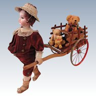 Outrageously Cute DEP Wind-up Boy Pulling Cart
