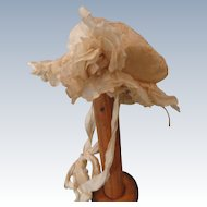 Ruffly and Lacey Antique Silk Doll Bonnet