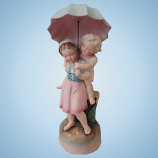Awesome German Figurine/Vase Children w/Umbrella