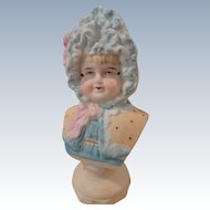 German Doll Bust--Girl in Ruffly Bonnet