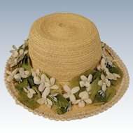 Vintage Straw Hat for Child or Large Doll
