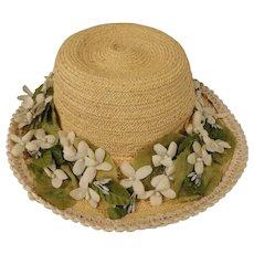 Vintage Straw Hat for Child or Large Doll