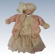 Beautiful 2 Piece Dress of Antique Pink Silk & Lace w/Matching Bonnet