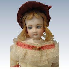 "Gorgeous 16"" French Fashion Doll, Leather Body, Swivel Neck"