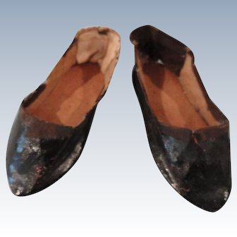 Black Slip-on Shoes for a Large Fashion Doll