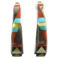 Native American Gemstone Inlay Sterling Silver Earrings