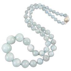 250ctw Vintage Aquamarine Graduated Bead Necklace 20 Inches