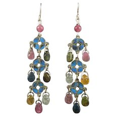 Antique Chinese King Fisher and Tourmaline Chandelier Earrings