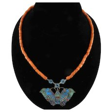 Chinese Kingfisher Feather Moth and Coral Necklace 20 Inches