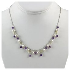 Amethyst Cultured Pearl and Rock Crystal Sterling Silver Necklace 18 Inches