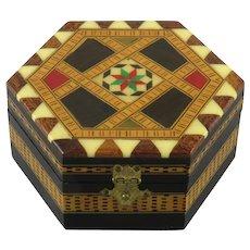 Beautiful Inlay Wood Hinged Lid Tunbridge Style Box