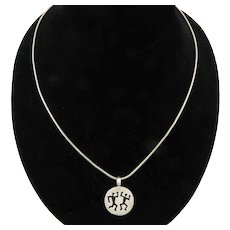 Keith Haring Design Sterling Silver Necklace by BOMA 20.5 Inches