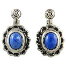 Lapis and Sterling Silver Door Knocker Earrings
