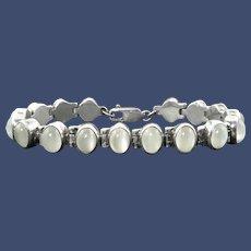 Shimmering Moonstone and Sterling Silver Bracelet