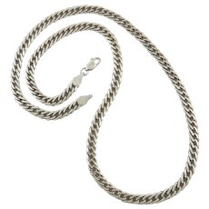 Heavy Sterling Silver Cuban Link Chain Necklace 21.5 Inches