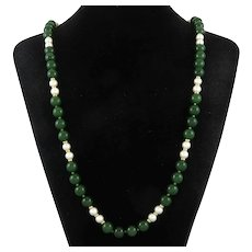 Mid Century 14K Akoya Cultured Pearl and Green Jade Necklace 30 Inches