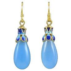 Enamel on Sterling Silver Vermeil Blue Chalcedony Teardrop Dangle Earrings