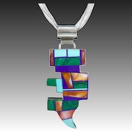Rare Frank Yellowhorse Large Navajo Pendant Necklace
