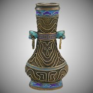 Chinese Gilt Silver Enamel Dragon Miniature Vase with Lid