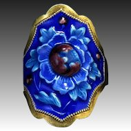 Chinese Enamel on Gilt Silver Asian Flower Ring
