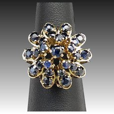 Art Deco 18K and 3.5ctw Blue Sapphire Princess Style Ring