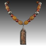 "Carved Bead and Carnelian, Silver Asian Tibetan Ga Wu Necklace 23"""