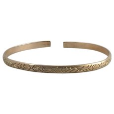 Victorian 14K Rose Gold Etched Bangle
