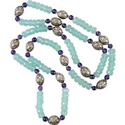 """Aqua Blue Chalcedony Amethyst and Sterling Silver Necklace 32"""""""