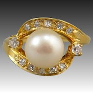 14K Gold 1/3ctw Diamond and Cultured Pearl Ring