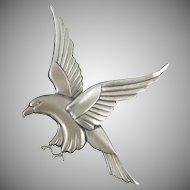 Art Deco Sterling Silver Eagle Brooch by Coro