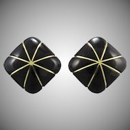 Carved Black Onyx 14K Star Earrings