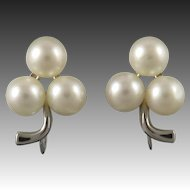 14K White Gold and Akoya Cultured Pearl Earrings