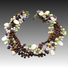 """Spectacular 4 Strand Gemstone and Cultured Pearl Torsade Necklace 19"""""""