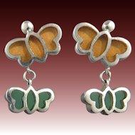 Plique A Jour Enamel Butterfly Sterling Silver Earrings