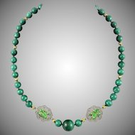 Chinese Asian Malachite and Enamel Frog Gilt Silver Necklace 24""