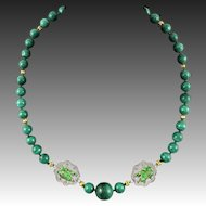 """Chinese Asian Malachite and Enamel Frog Gilt Silver Necklace 24"""""""