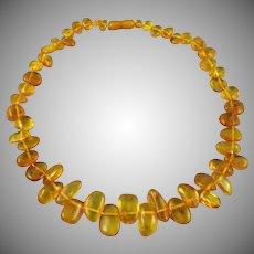"Baltic Honey Golden Amber Teardrop Necklace 17.5"""