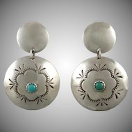 Turquoise and Sterling Silver Concho Dangle Earrings