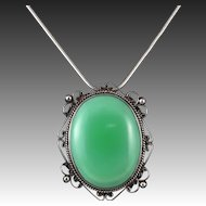 Large Green Agate Sterling Silver Pendant | Brooch Mexico Eagle Mark 1 With Chain