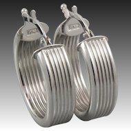 14K White Gold Chunky Ribbed Hoops