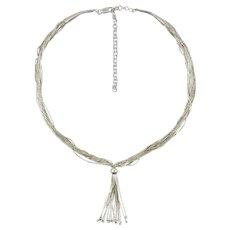 "Liquid Silver Lavalier Tassel Style Necklace 19"""